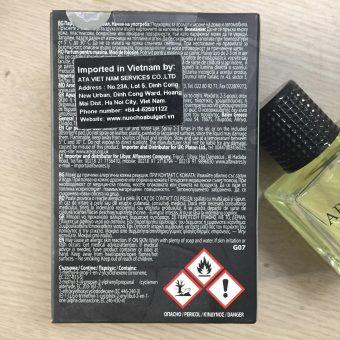 Mặt sau hộp nươc hoa ô tô areon car black perfume 50ml